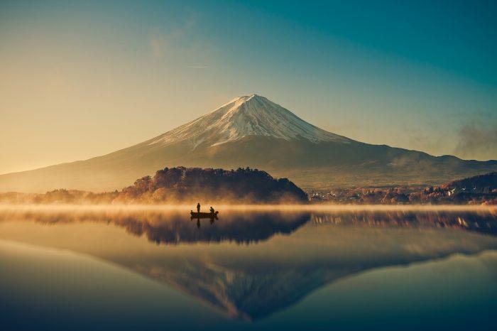 Mount fuji san at Lake kawaguchiko in japan on sunrise